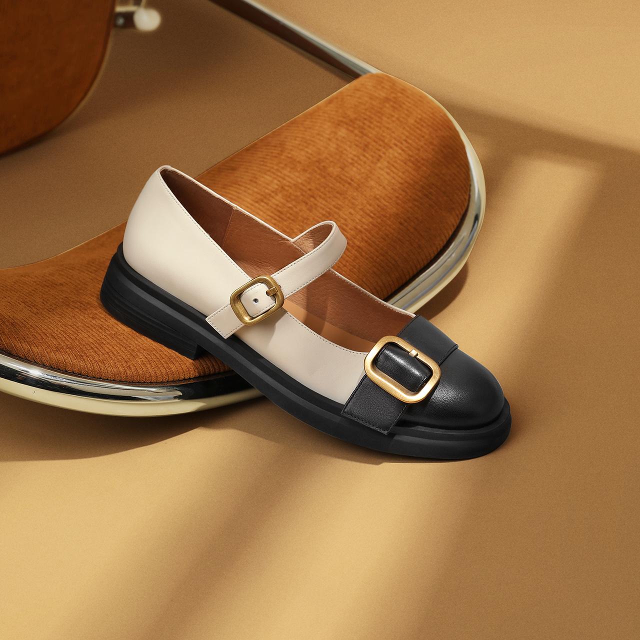 预聚 W9S2DCQ1 秋新款商场同款牛皮革小香风单鞋 2021 百丽玛丽珍鞋女