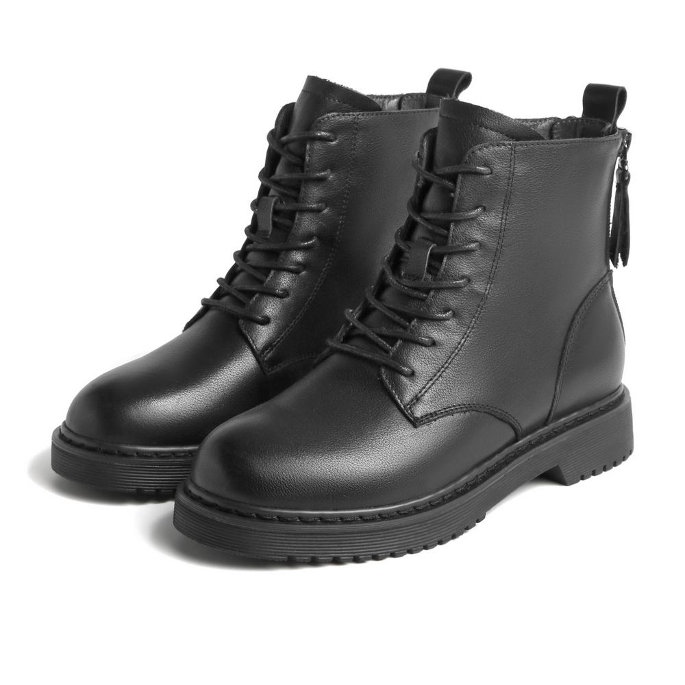 V6A1DDD0 机车皮短靴加绒 ins 冬新商场同款 20 百丽粗跟马丁靴女