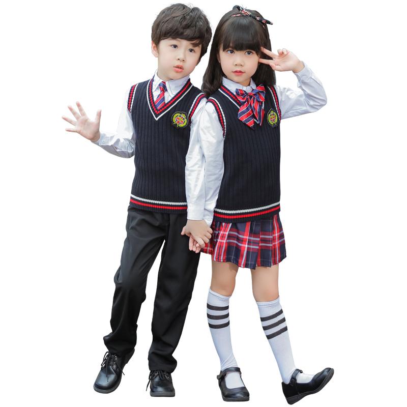 幼儿园园服春秋套装毛衣开衫英伦学院风儿童班服小学生校服秋冬装
