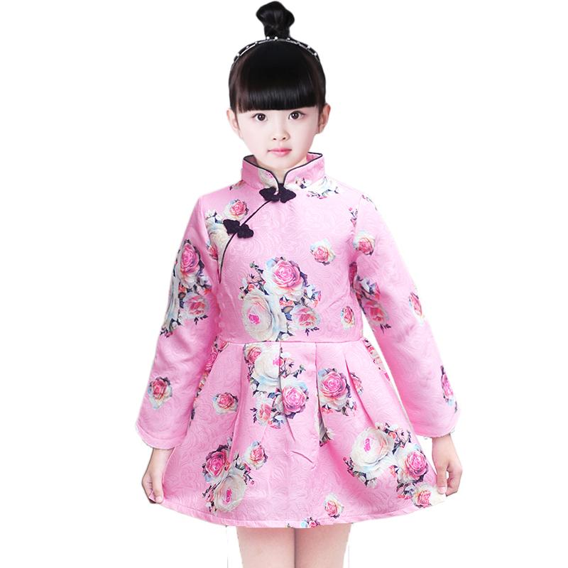 女童旗袍2019新款中国风公主裙连衣裙儿童古筝演出服长袖秋季裙子