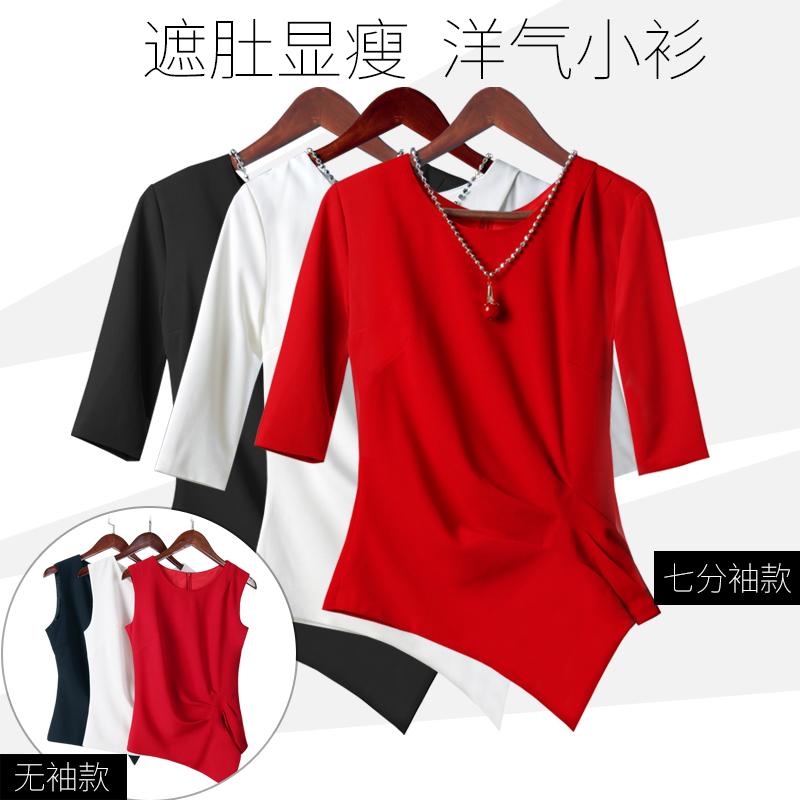 七分袖上衣女2019新款初秋洋气时尚气质中袖不规则秋季红色雪纺衫