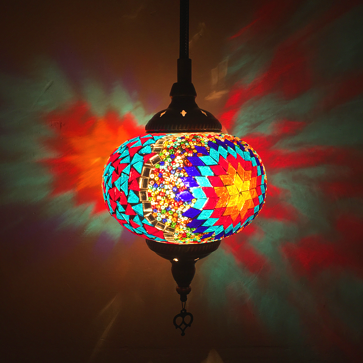 复古民族风餐厅咖啡厅酒吧服装店网吧土耳其手工彩色漫咖啡吊灯