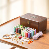 Set for household sewing box sewing kit portable hand-sewing tools wood storage box wedding gift dowry
