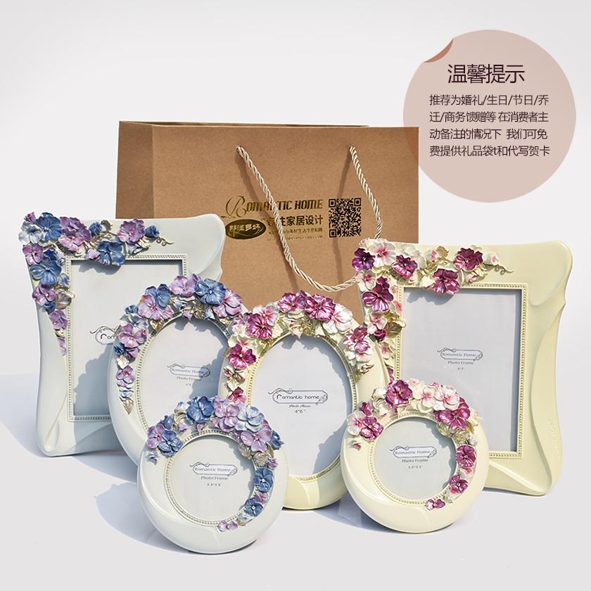 那澜多好 欧式田园韩式公主房婚庆结婚送礼婚照三色堇树脂7寸相框