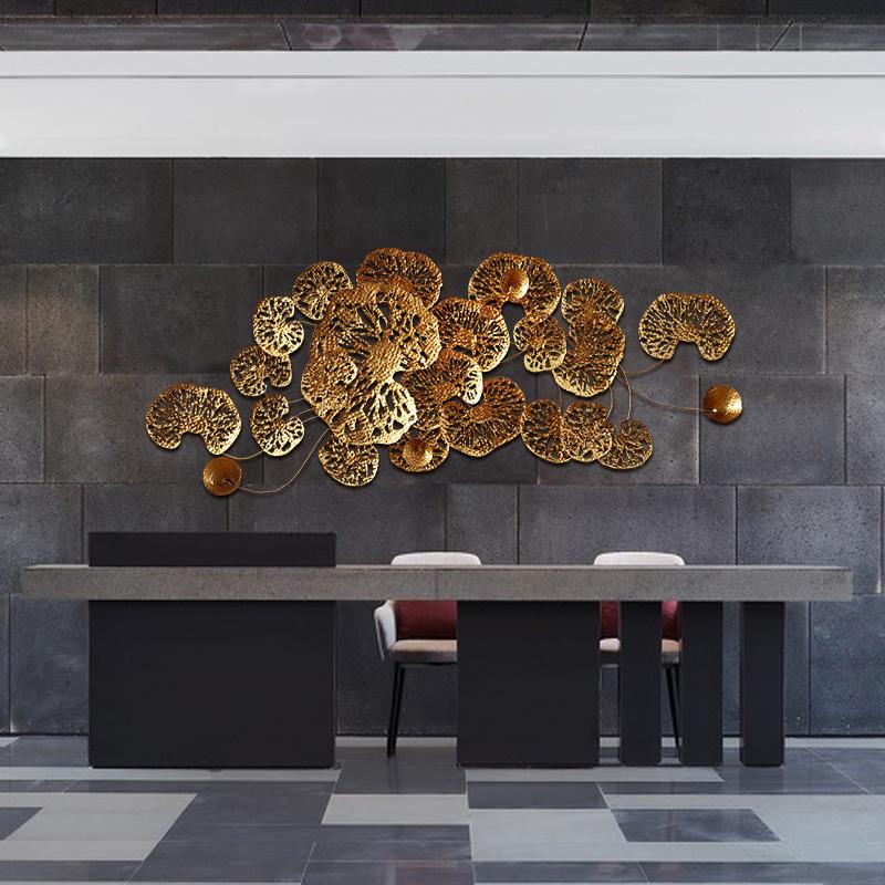 泰域 东南亚创意荷叶组合铁艺壁饰 设计师立体墙上金属室内装饰品