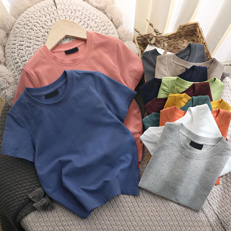 男童短袖t恤日系纯棉宝宝纯色T恤儿童夏季童装男2021夏款半袖白色