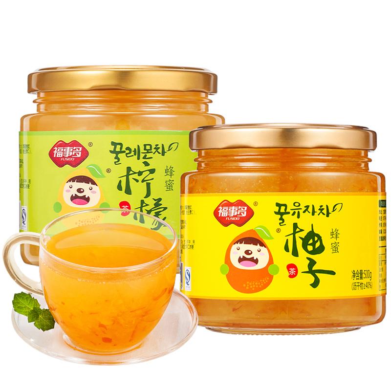福事多蜂蜜柚子柠檬百香果茶1Kg泡水喝的饮品冲泡水果茶冲饮罐装