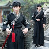 Han Yue original ancient Chinese clothing costume men's models male warrior scholar of antiquity Chinese wind Xian Qi Black Boys