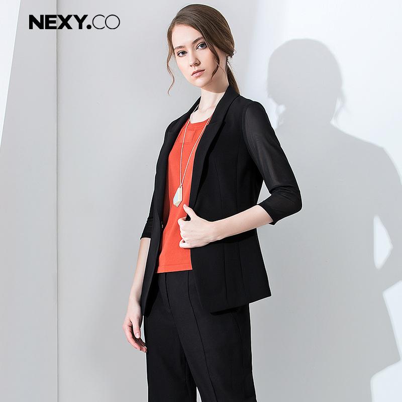 NEXY.CO/奈蔻秋季新款中袖黑色小西装外套女职业气质百搭短外套女