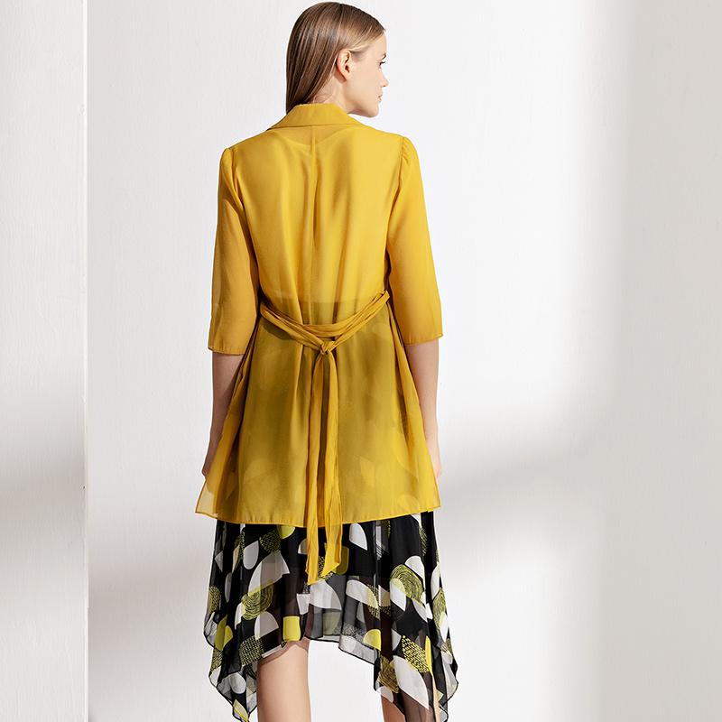 NEXY.CO/奈蔻简约薄款中长款中袖外套女西装领开衫夏季新品