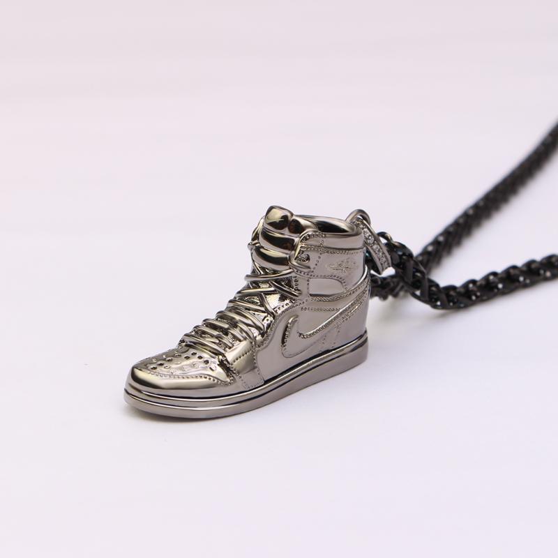 乔丹球鞋子网红吊坠潮牌嘻哈毛衣项链情人侣生日礼物 AJ1 银运动 925