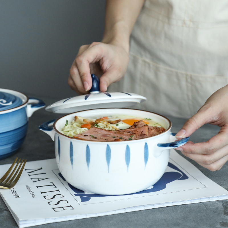 泡面碗带盖陶瓷碗日式汤碗拉面碗学生宿舍