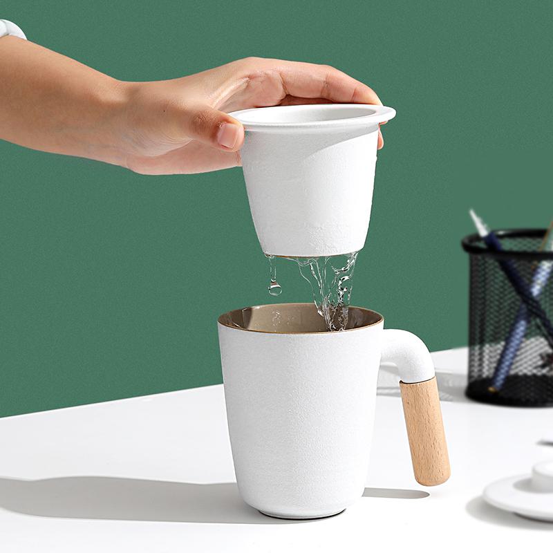 束氏茶水分离泡茶杯办公室茶杯陶瓷带盖过滤杯水杯马克杯定制logo