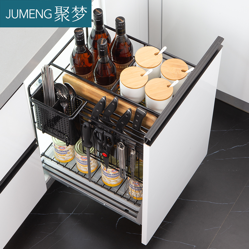 不銹鋼抽屜式阻尼內置調料籃 304 櫥柜調味拉籃調料廚房廚柜調味架