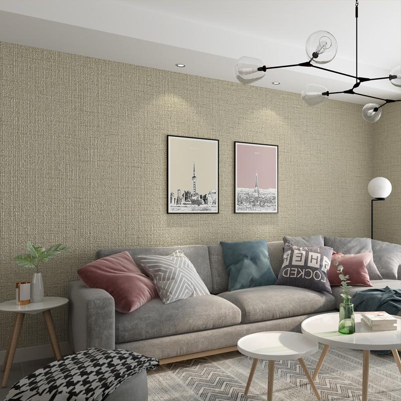立体 3d 简约现代素色亚麻壁纸新中式日式客厅卧室书房纯色墙纸防水