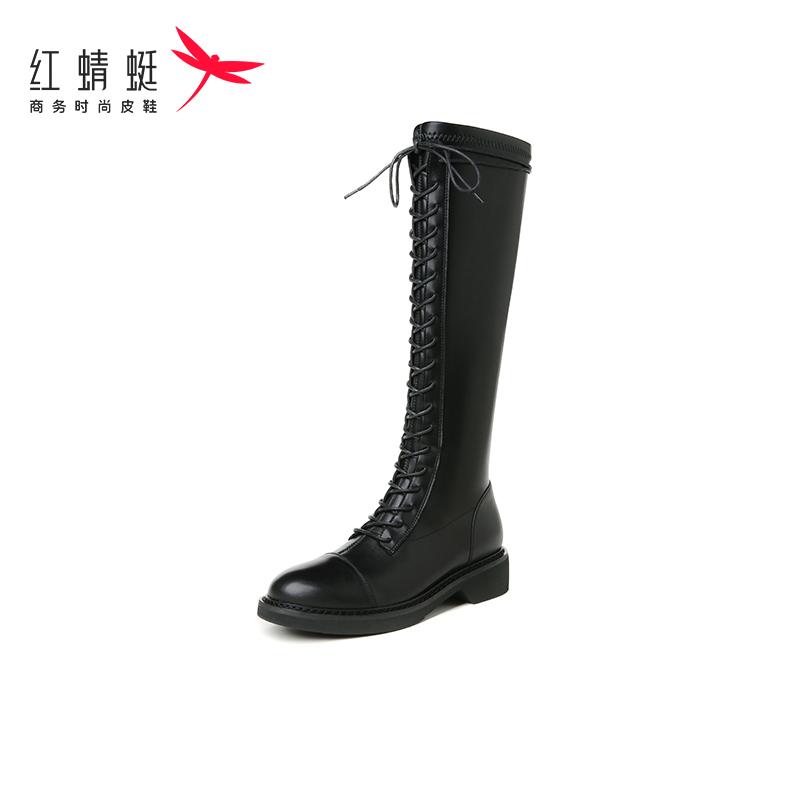 【红蜻蜓】长筒靴女新款高筒系带骑士靴