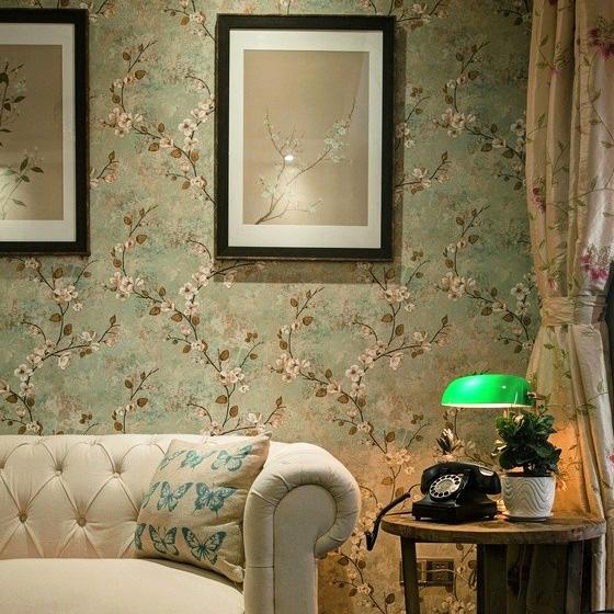 米冠复古美式乡村壁纸田园花卧室书房客厅餐厅电视背景无纺布墙纸