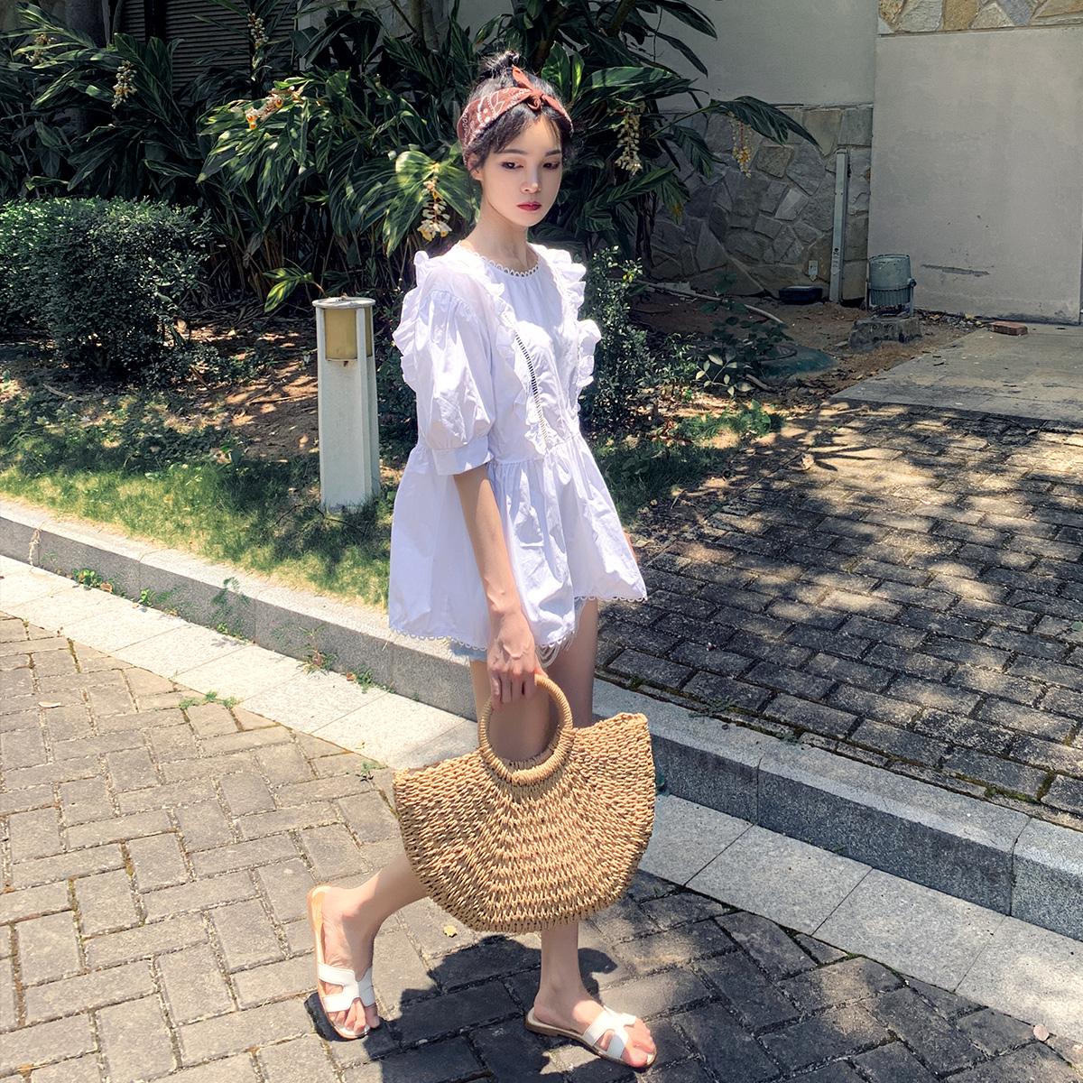 神装定制 港风衬衫女设计感小众甜美娃娃衫泡泡袖上衣女夏蓬蓬衫