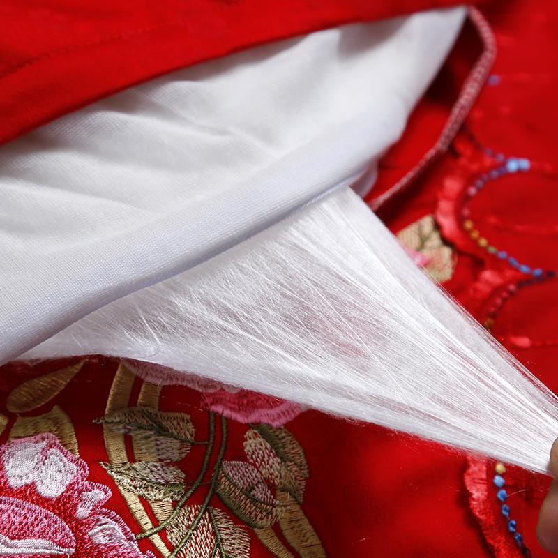 斤 10 婚庆大红蚕丝被子结婚陪嫁喜被芯全棉花边被套春秋被加厚冬被