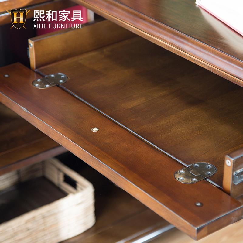 美式全实木转角书桌书架组合简约写字台电脑桌带书柜办公桌熙和