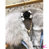 Winter loose short paragraph Korean real fur collar thick denim clothing denim jacket female rabbit fur liner detachable fur