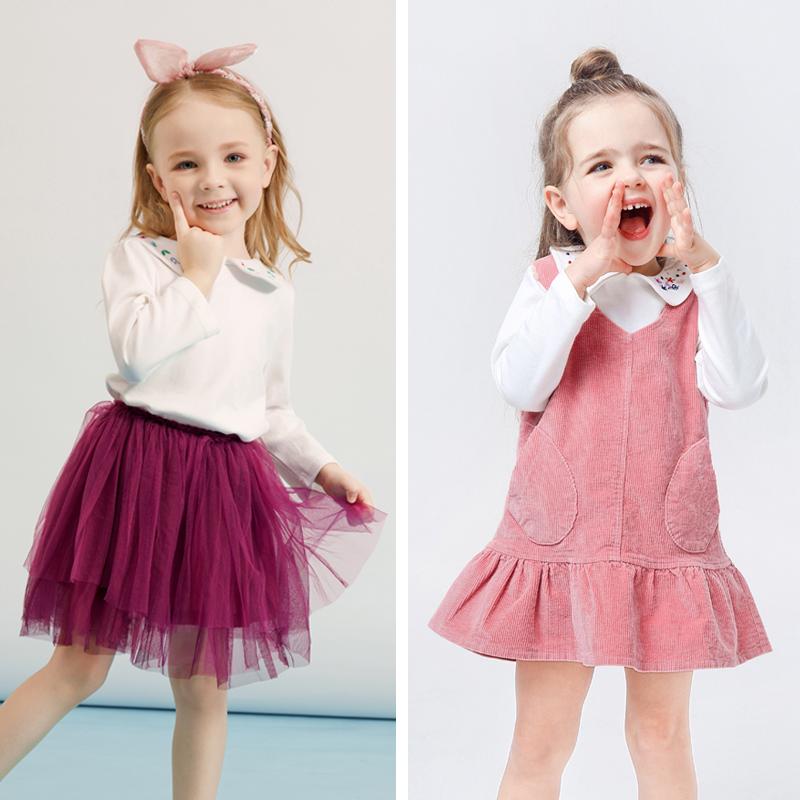 女童秋装3岁儿童长袖T恤女秋冬加绒婴儿娃娃领上衣秋衣宝宝打底衫