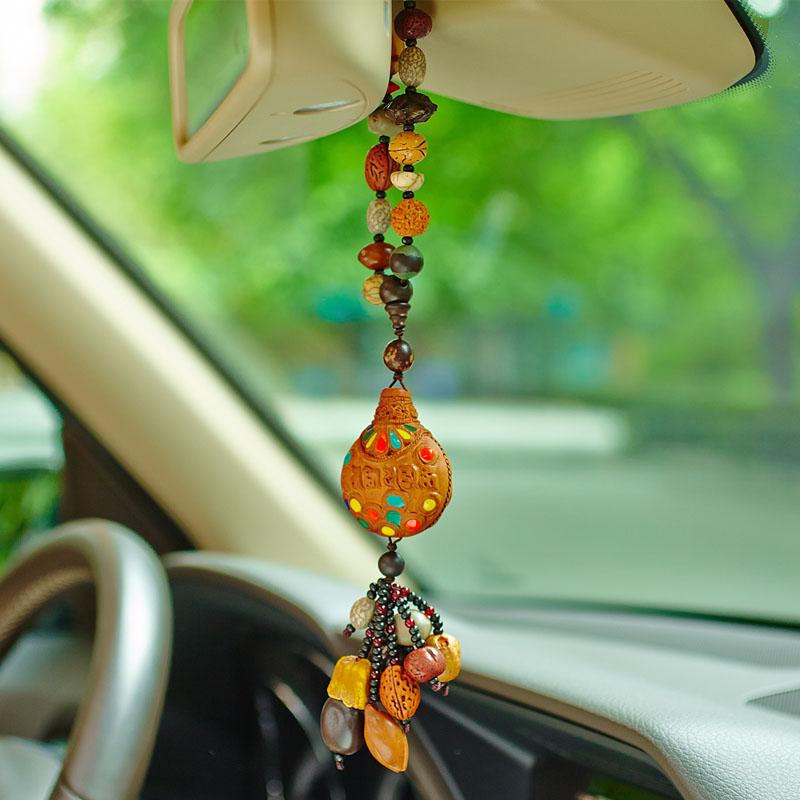 富美达 尼泊尔藏式精雕法壶汽车挂件饰品 桃木佛珠车饰车挂礼品