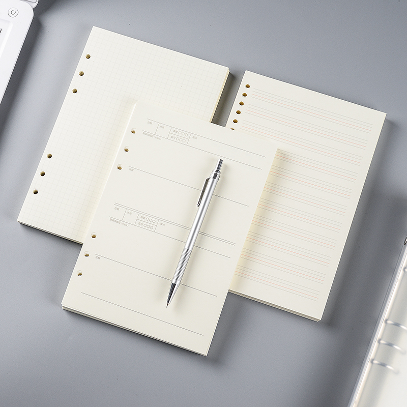 A4活页纸B5活页笔记本子替换芯6孔9孔活页替芯A6A7记事本空白方格网格英语错题手帐本道林活页本A5内页芯定制