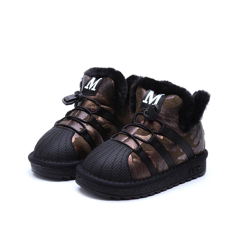冬季男童女童棉鞋软底防滑防水加厚短靴 儿童宝宝雪地靴保暖1-3岁