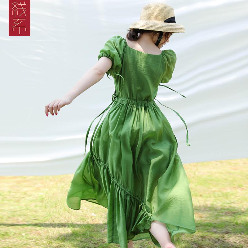 牛油果绿夏季裙子收腰新款复古