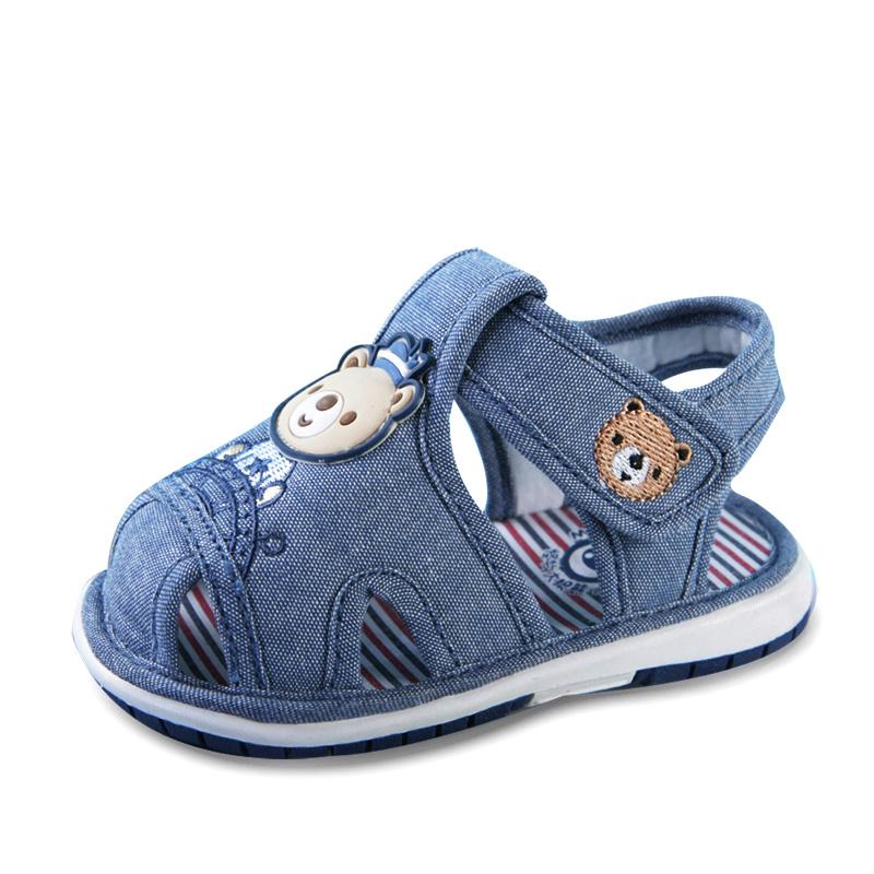 怪物大眼熊新品宝宝凉鞋男叫叫鞋夏季学步凉鞋女1-3岁居家鞋