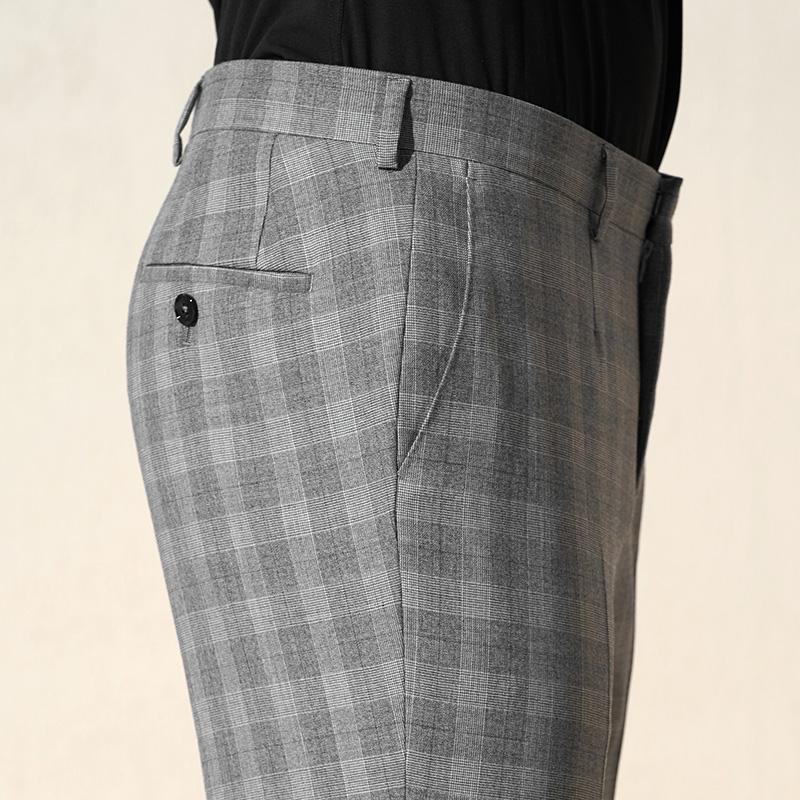 VICUTU/威可多商场同款男士羊毛套西裤时尚休闲灰色格纹西装裤子