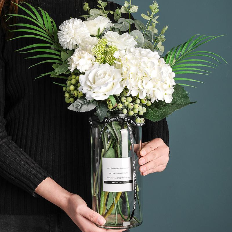 态生活ins北欧风水培透明小玻璃花瓶现代简约插花器家居装饰摆件