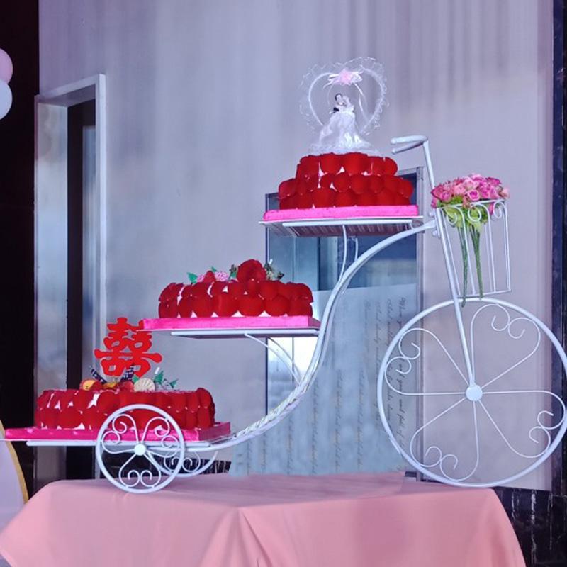 欧式新款创意铁艺蛋糕架子自行车生日婚庆婚礼三层多层甜品展示台