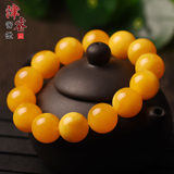 Natural chicken oil yellow beeswax bracelets amber rough stone selected beeswax single ring bracelet