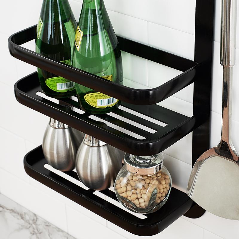 厨房置物架壁挂式挂杆挂件刀架调料架筷子架黑墙上免打孔收纳架子