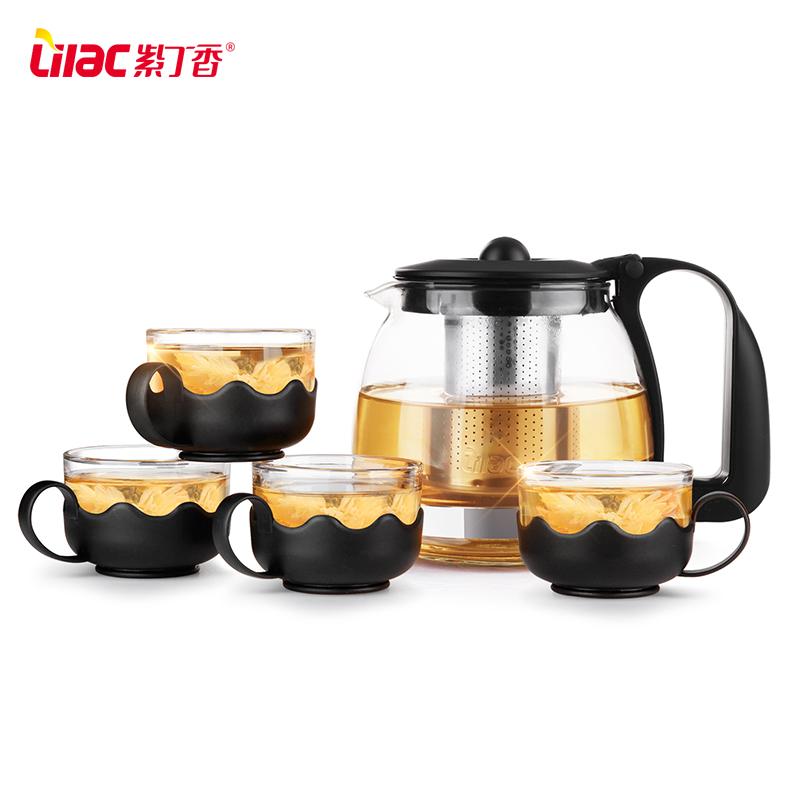 紫丁香耐热玻璃茶壶家用茶具套装大小号花茶壶茶水杯泡茶壶冲茶器