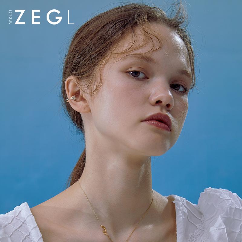 银设计师独角兽耳钉女小众耳骨夹耳环一体式不对称耳饰 ZENGLIU925