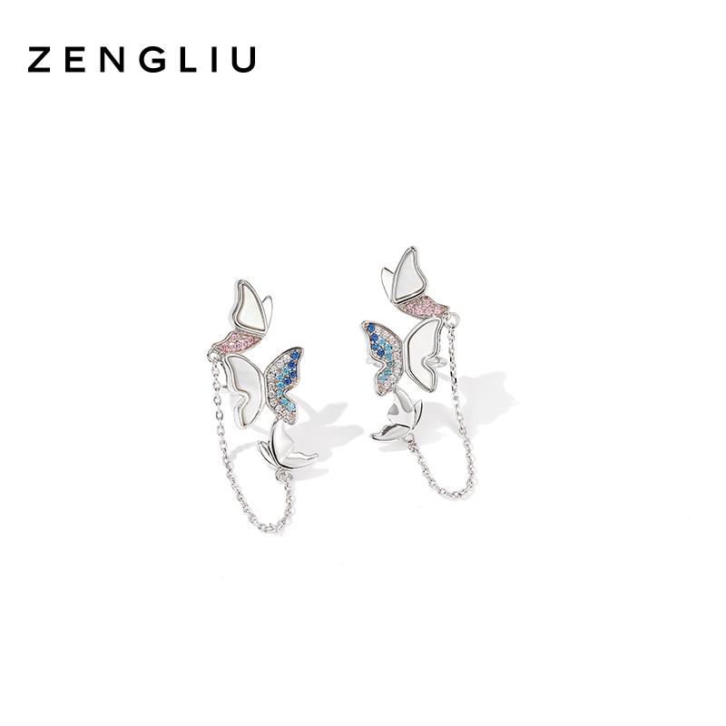 设计师蝴蝶耳夹无耳洞女气质耳骨夹链条耳环森系贝壳耳饰 ZENGLIU