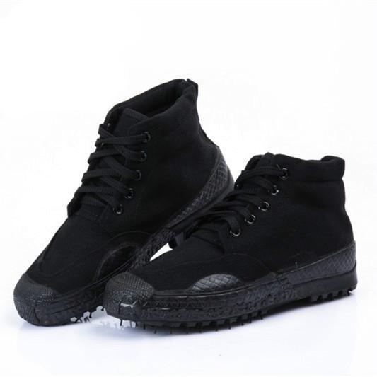高帮作训鞋男解放迷彩鞋女黑色胶鞋军训运动鞋帆布鞋跑步鞋劳保鞋