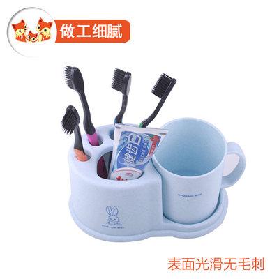 茶花牙刷置物架牙刷架牙缸牙具牙膏架创意收纳卫生间洗漱组合套装 - 图1