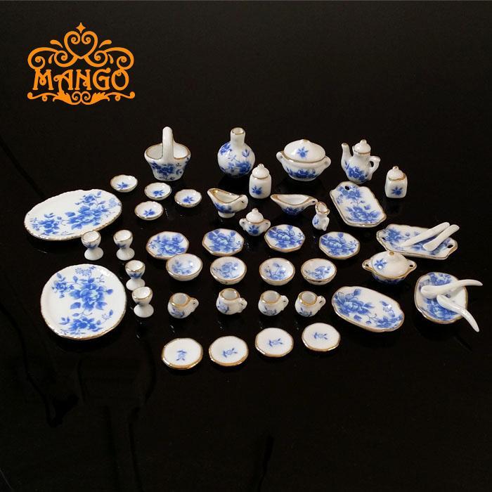 1:12娃娃屋dollhouse迷你陶瓷模型创意礼品 茶餐具碗碟套茶具包邮