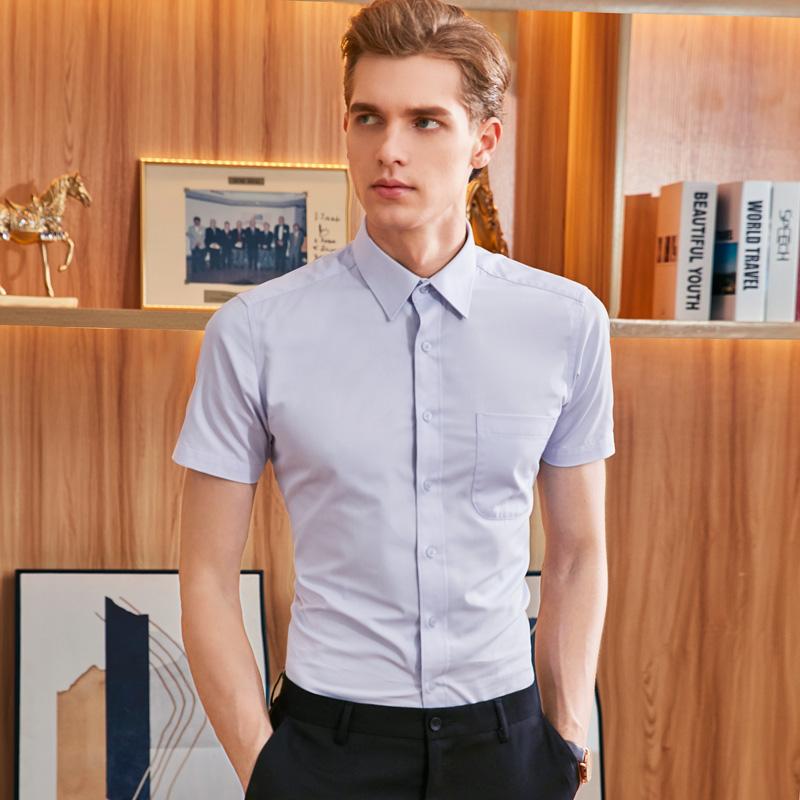 白衬衫男短袖免烫抗皱职业工作商务正装工装防皱领带半袖衬衣夏季