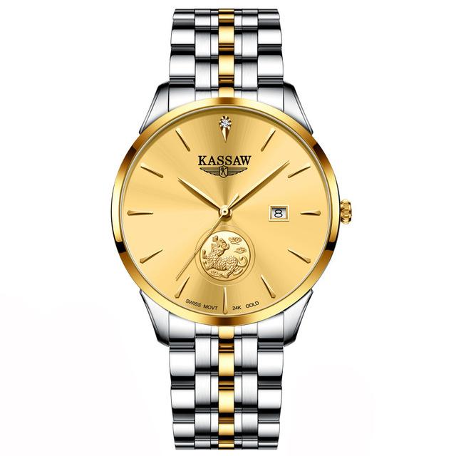 卡梭男士真钻机械表男表 KASSAW 足金瑞士品牌 999 黄金表纯金 24K 貔貅