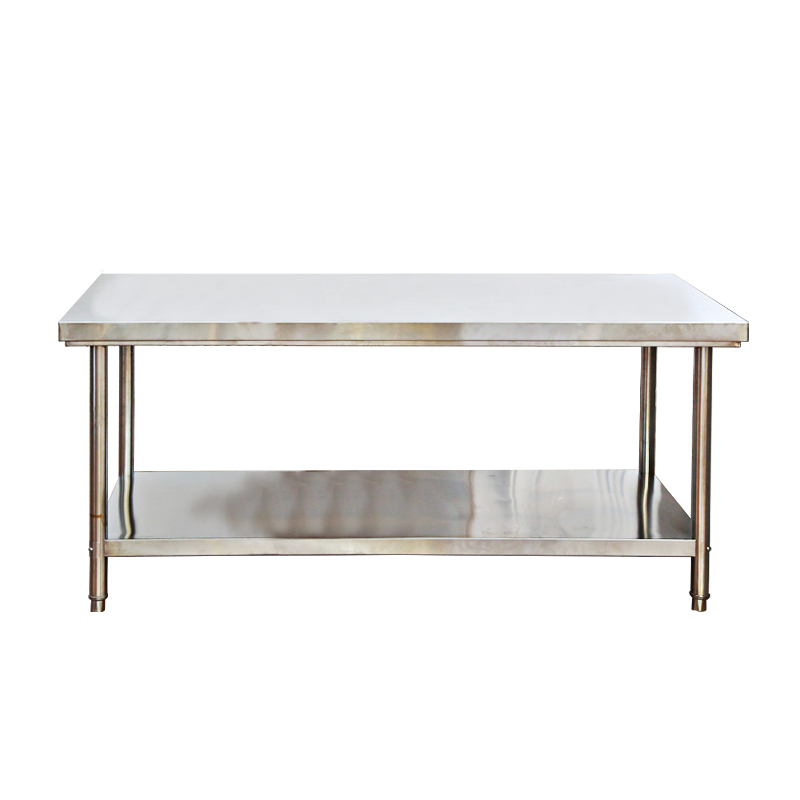 加厚不锈钢双层工作台厨房操作台打包台打荷台工作桌商用 304 国标