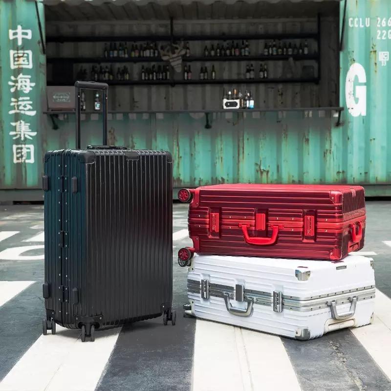 明星同款拉桿箱萬向輪鋁框旅行箱女PC行李箱男女登機箱24/26/28寸