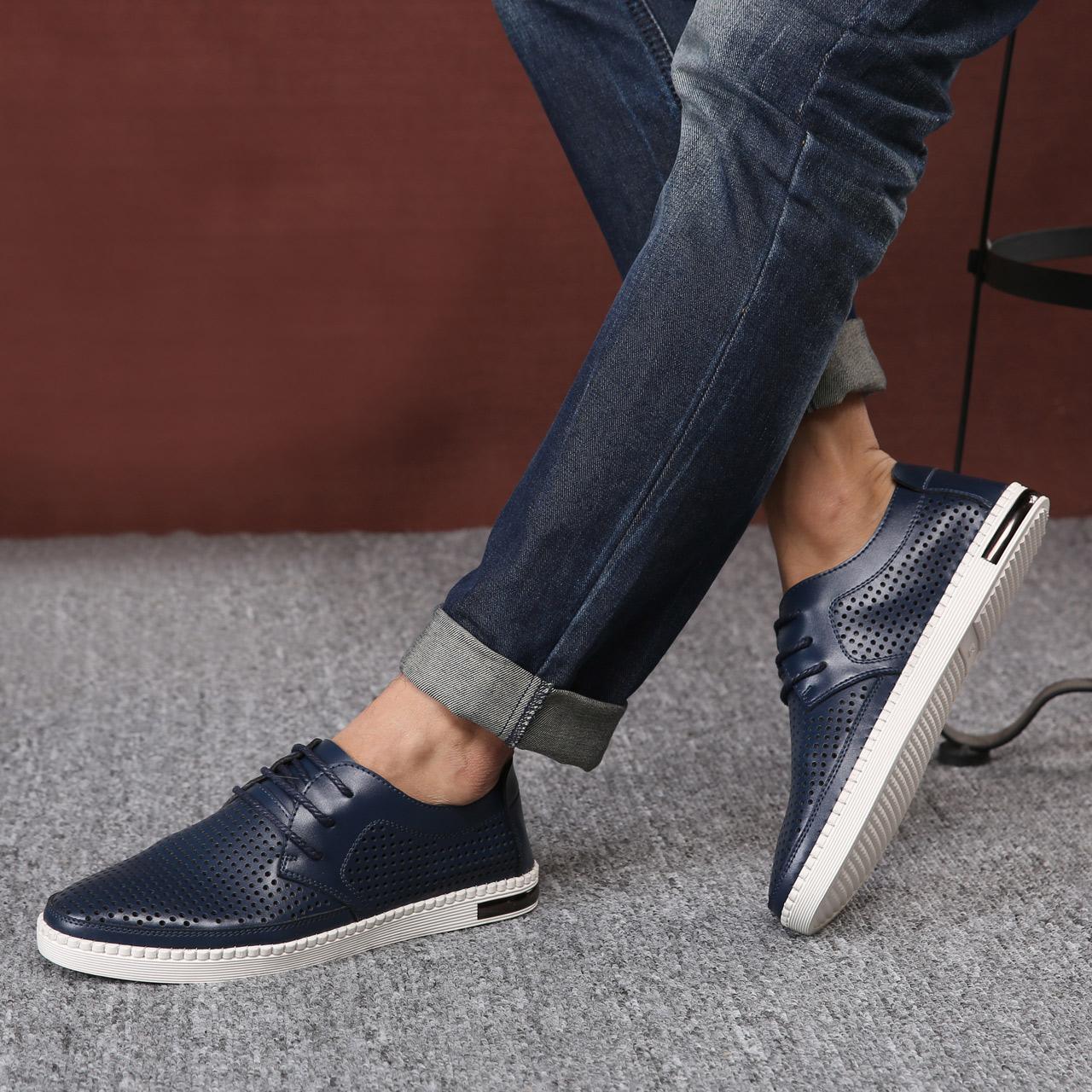 英伦男鞋夏季新款潮鞋透气皮鞋镂空休闲鞋男士凉鞋真皮鞋子板鞋男