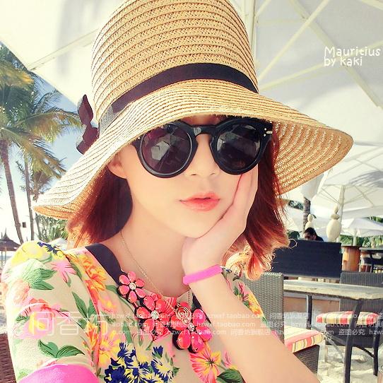 大沿草帽子女出游夏天韩版海边沙滩遮阳帽防晒夏百搭太阳防紫外线