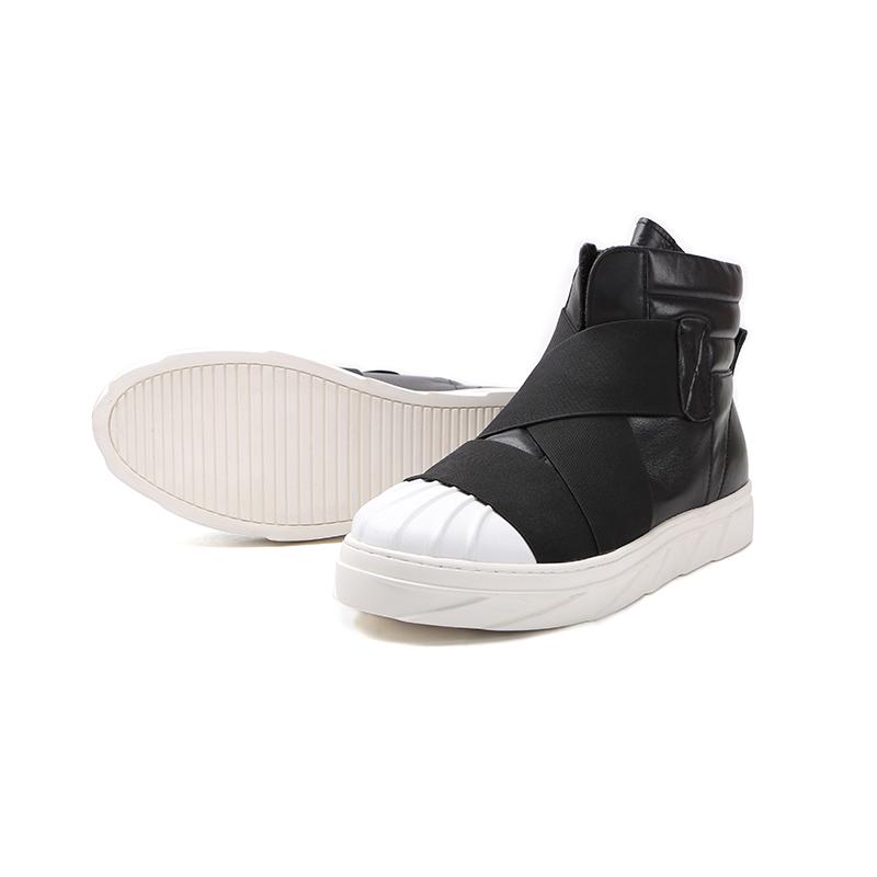 GENANX闪电潮牌鞋子男运动休闲鞋 头层牛皮高帮潮流板鞋男青年