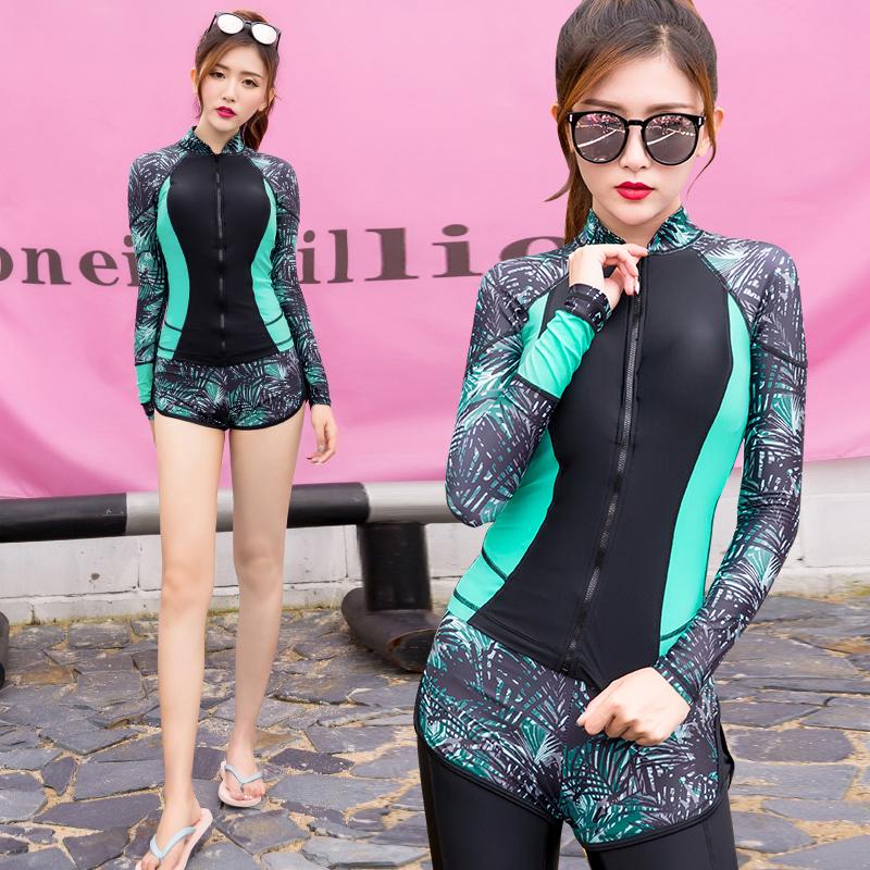 韩国潜水服泳衣女男情侣分体连体长袖水母衣防晒冲浪速干浮潜套装